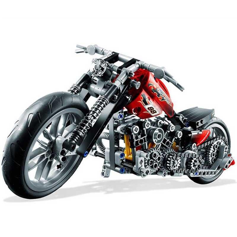 HEIßER 378 stücke Technik Motorrad Exploiture Modell Harley Fahrzeug Gebäude Ziegel Block Set Spielzeug Geschenk