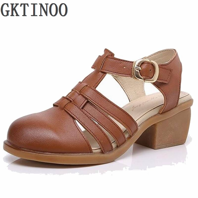ФОТО 2017 summer sandals genuine leather bag cowhide breathable women's shoes strap medium hells shoes cow muscle shoes thick heel