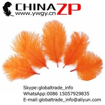CHINAZP Factory Wholesale 500pcs/lot 15-20cm(6-8inch) Pretty Decorative Dyed Orange Ostrich Plumage Feathers