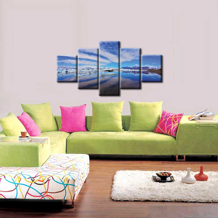 5 Pieces Snow Mountain Landscape Painting Canvas Printing Modern Home Wall Decor Picture for Living Room Framed J009-061