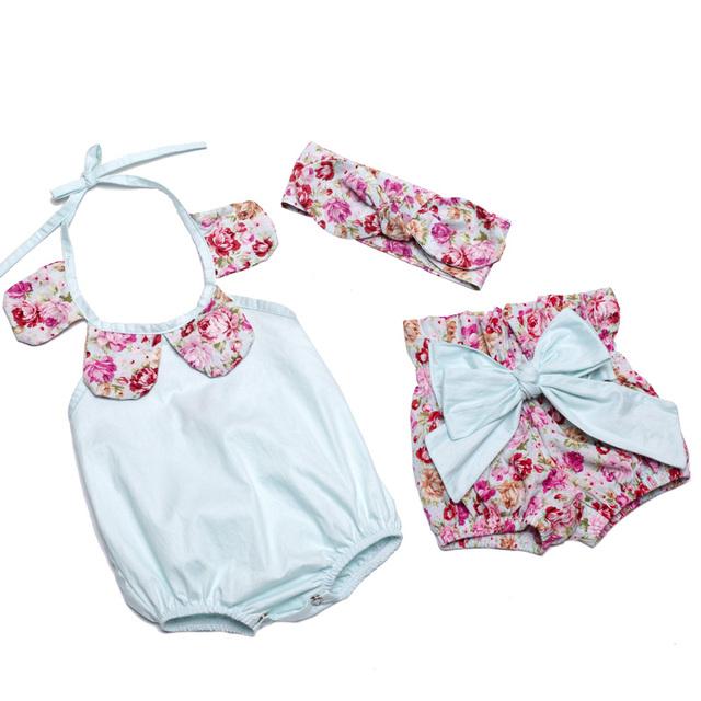 Nuevo 2016 del verano del bebé tiendas de ropa conjuntos de bebé girls vintage floral mameluco del paño con pantalones cortos y la venda de los cabritos ropa