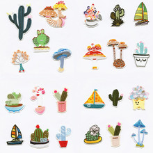 The cactus mushroom bonsai Patchwork Patch Embroidered Patches For Clothing Iron-On Close Shoes Bags Badges Embroidery