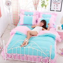 bedding set 4pcs/3pcs cotton kids king queen twin size pink blue owl 3d bed duvet quilt cover cartoon bedsheet bedclothes linen