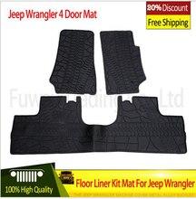 Бесплатная Доставка Черный с логотипом/черный резиновый TPE Материал Пола лайнер Комплект Коврик Для Jeep Wrangler Unlimited JK 4/2 Двери 2007-2015