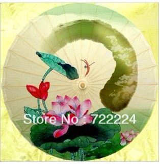 Dia 50cm small size chinese unique lotus water-resistant sunscreen dance cosplay oiled paper umbrella with classical dragonfly dia 50cm chinese handmade small craft umbrella for child plum blossom rain dance decorative cosplay women oiled paper umbrella