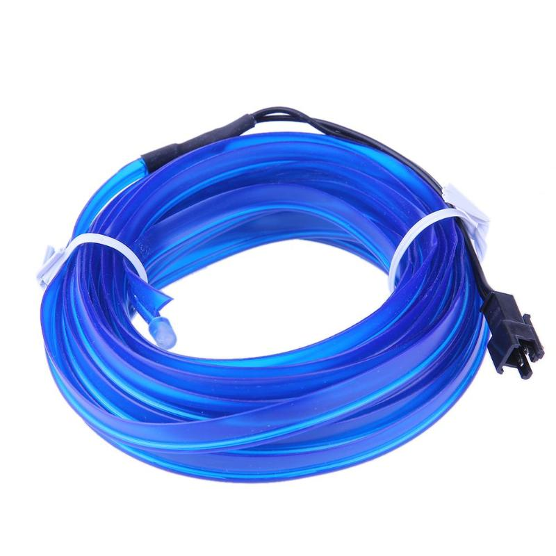 5m Universal Car Interior Cold Light LED Decor Neon EL Wire Strip Atmosphere Car Cigarette Lighter Adapter Fluorescence Blue Kit