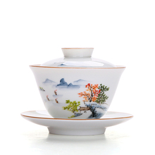 Ceramic lid bowl tea cup set Hand painted landscape painting Tea Bowl Kung Fu Set Home Party Afternoon Teacup Porcelain