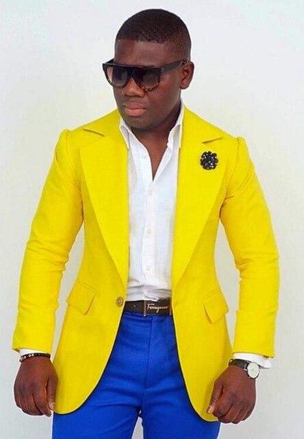 Mode jaune veste avec pantalon bleu Royal marié smoking fait sur commande grand revers hommes costumes de mariage Blazer deux pièces hommes costume-in Costumes from Vêtements homme on AliExpress - 11.11_Double 11_Singles' Day 1