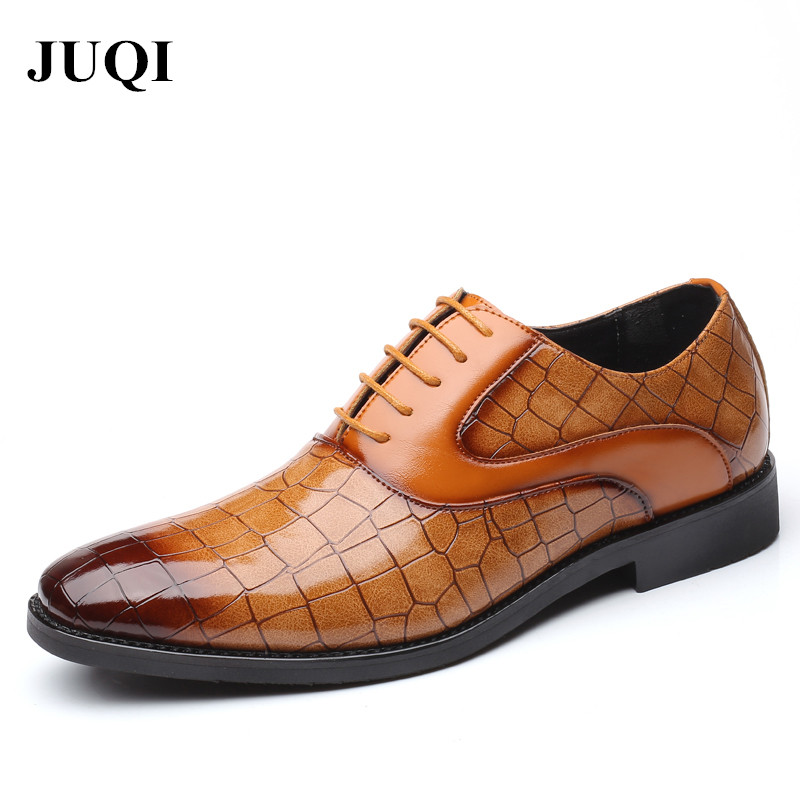 JUQI Man Flat Classic Men Dress Shoes Business Leather Formal Shoes Pointed Toe Oxford Shoes For Men Plus Size 38 48