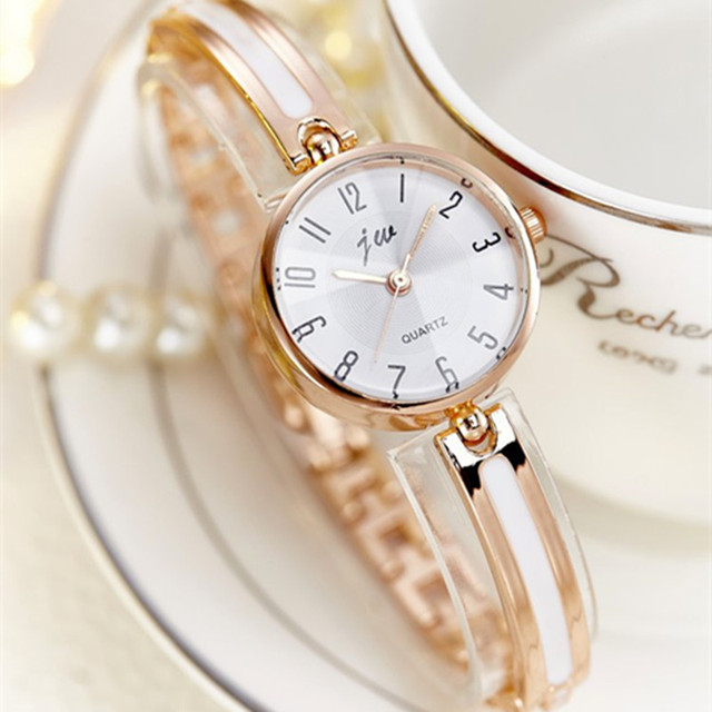 JW Brand Luxury Crystal Rose Gold Watches Women Fashion Bracelet Quartz Watch Wo