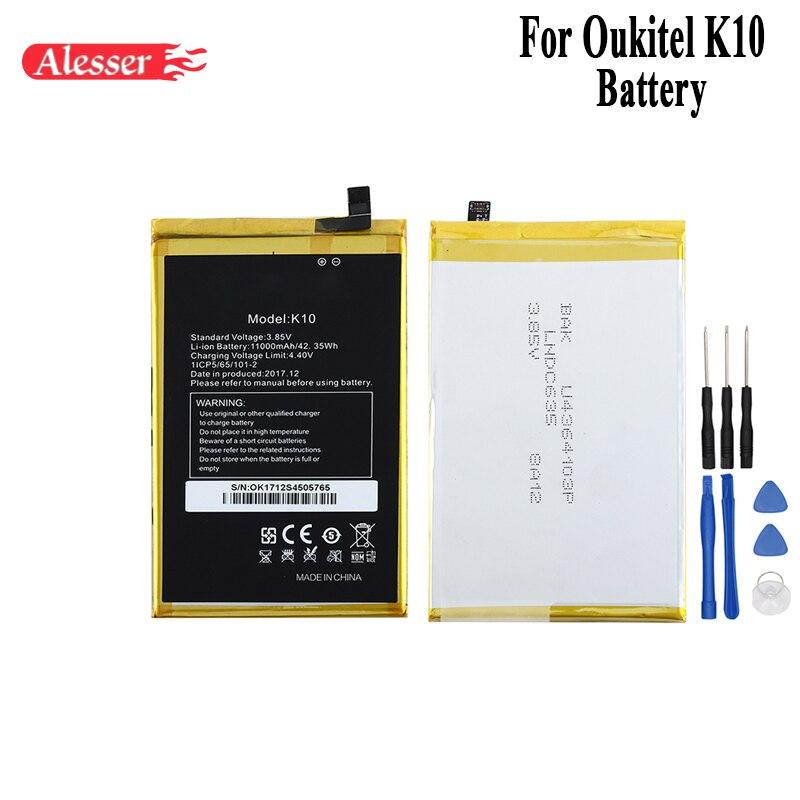 Alesser pour Oukitel K10 batterie 11000 mAh 100% nouveau remplacement accessoires accumulateurs pour Oukitel K10 téléphone portable avec outils