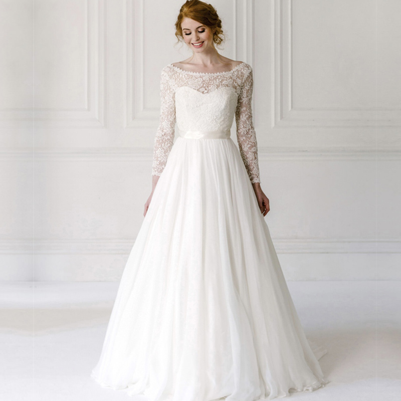 Modest Wedding Dresses Long Sleeve Ivory Ball Gown