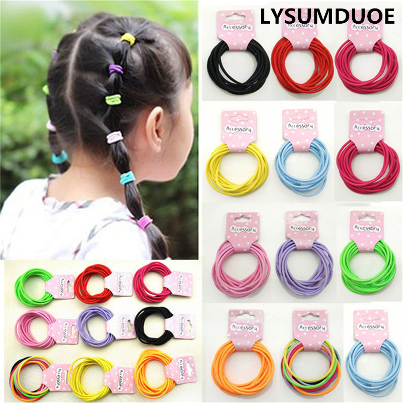 Fashion Cute Kids Hair Accessories 10Pcs Candy Elastic Hair Bands Fashion Headbands Plastic Headdress Rubber Headwear For Girl halloween party zombie skull skeleton hand bone claw hairpin punk hair clip for women girl hair accessories headwear 1 pcs
