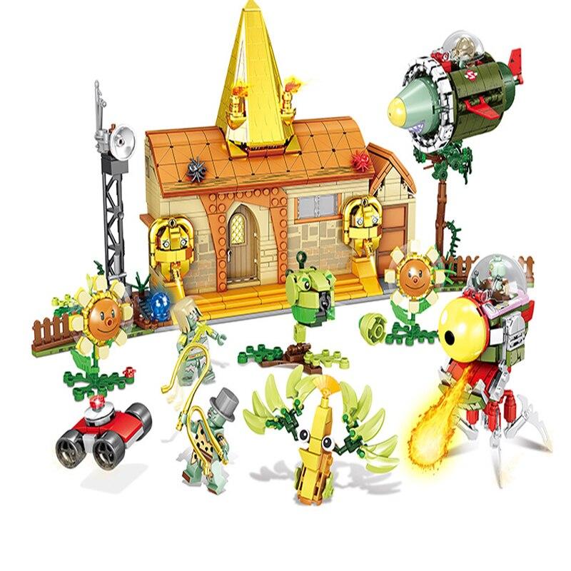 1036pcs Children s building blocks toy Compatible city Plant pea cannon vs zombies DIY figures Bricks