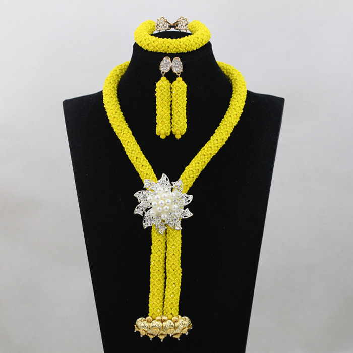 Long Design African Jewelry Nigerian Party African Beads Jewelry Set Yellow Crystal Bridal Jewelry Sets Free ShippingABH012