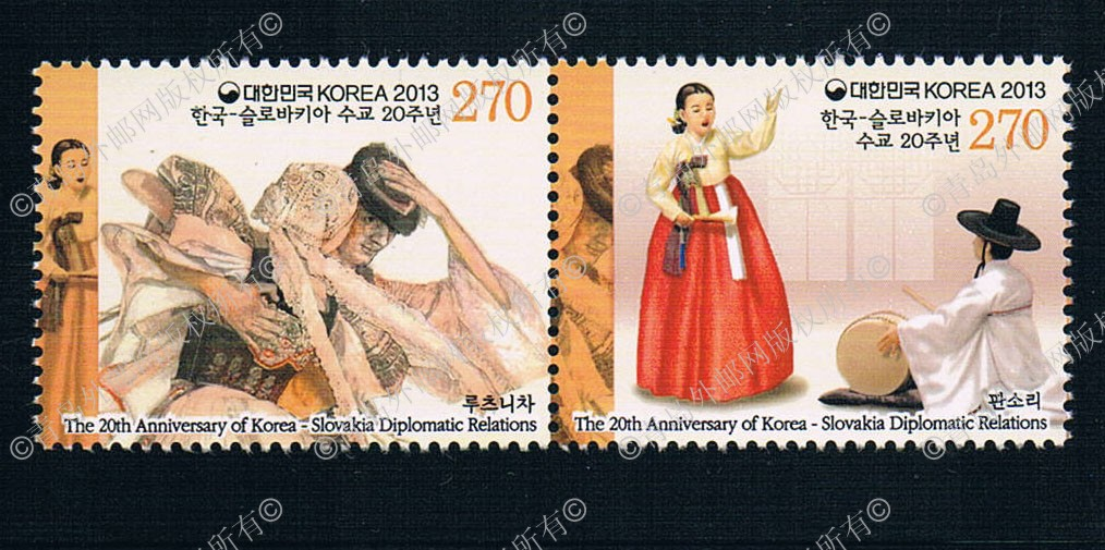 KR0974 South Korea 2013 and Slovakia Lianfa folk dance Stamp 2 new 0714