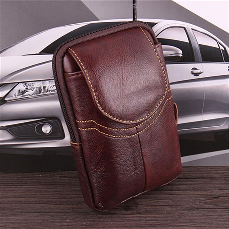 Osmond Men Genuine Leather Waist Pack Bag Mini Cell/Mobile Phone Pockets Case Coin Purse Male Fanny Money Bags Vintage Waist Bag