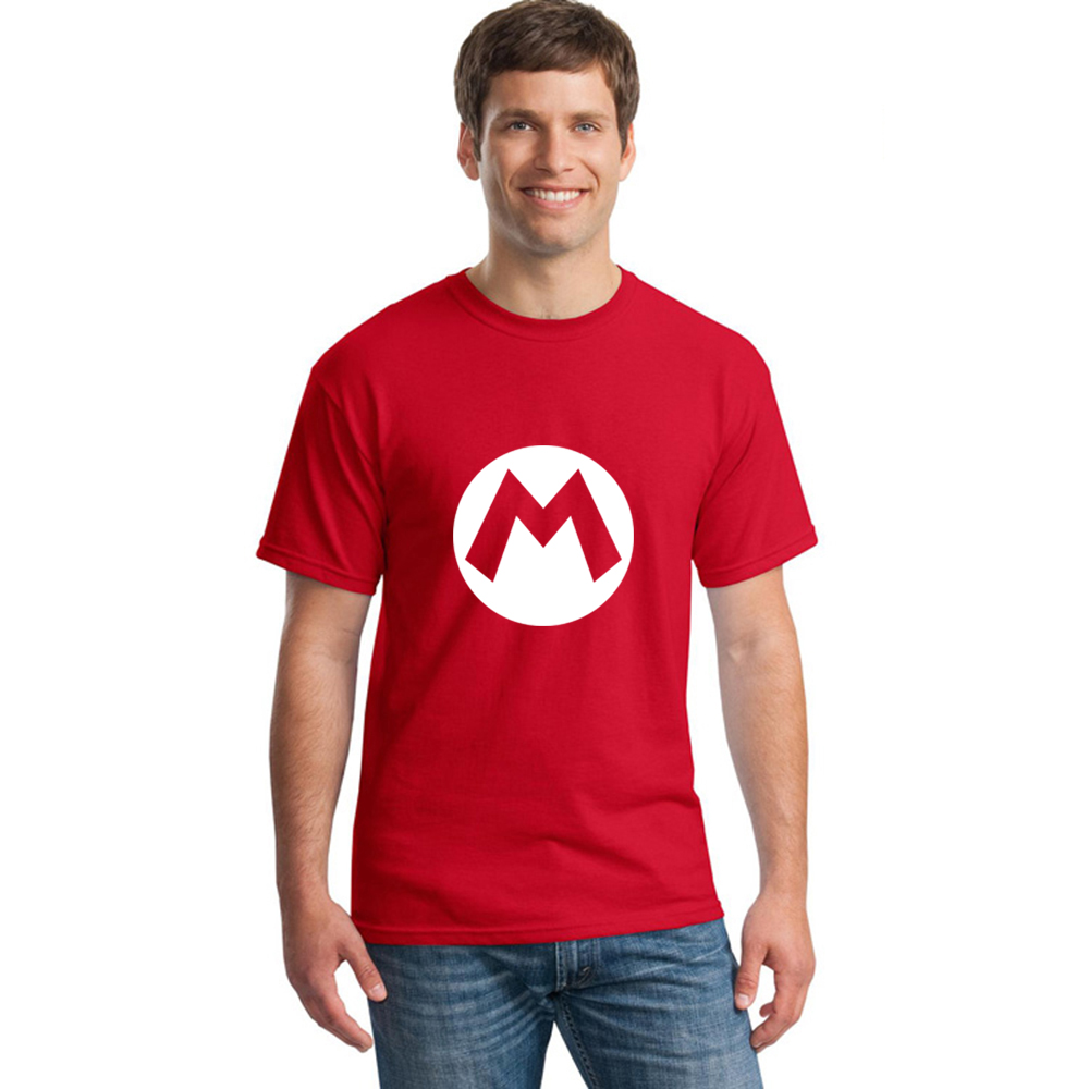 Super Mario Bros M Logo   T     Shirt   Summer New Cartoon Men   T  -  shirts   Fashion Short Sleeve Cotton O-neck Game Men Clothing Tops Tee