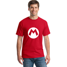 Super Mario Bros M Logo T Shirt Summer New Cartoon Men