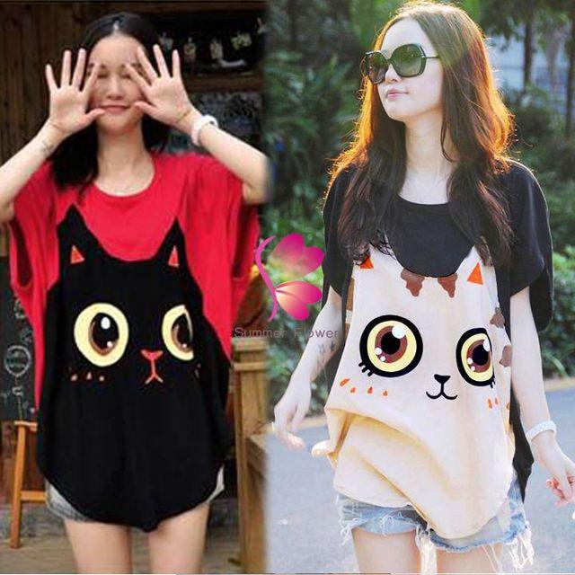 Las nuevas mujeres ocasionales flojos gran tamaño de manga murciélago camiseta del patrón del gato cuello redondo envío gratis