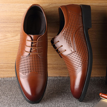 Misalwa Men Shoes Luxury Brand Hollow Out Formal Summer Pointed Toe Business Suit Office Oxford Dress Footwear Brown Black