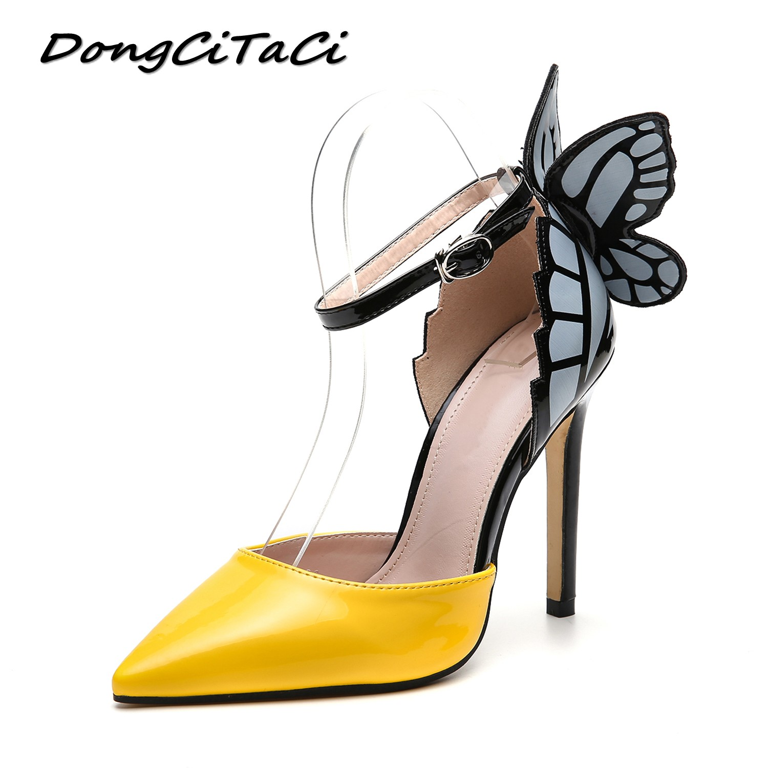 DongCiTaCi Women Dream butterfly Pointed Toe High Heels Shoes Woman Pumps Fashion Female Ankle Strap Dress Party Wedding ShoesDongCiTaCi Women Dream butterfly Pointed Toe High Heels Shoes Woman Pumps Fashion Female Ankle Strap Dress Party Wedding Shoes