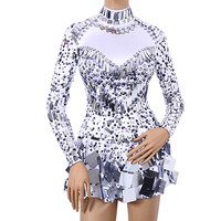 Women Birthday Celebrate Party Leotard Female Performance Outfit Stage Sparkly Sequins Bodysuit Dress Rhinestones Dance Costumes