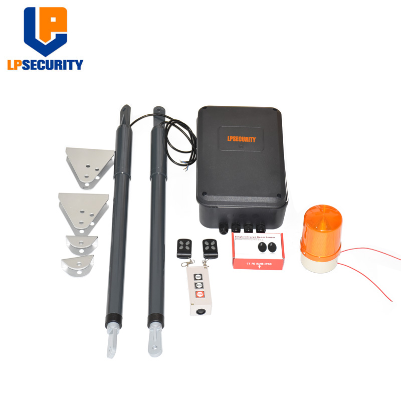 double arms swing gate opener door motor kit with 2 remote ( photocells,warning light,push button,keypad, gsm operator optional)