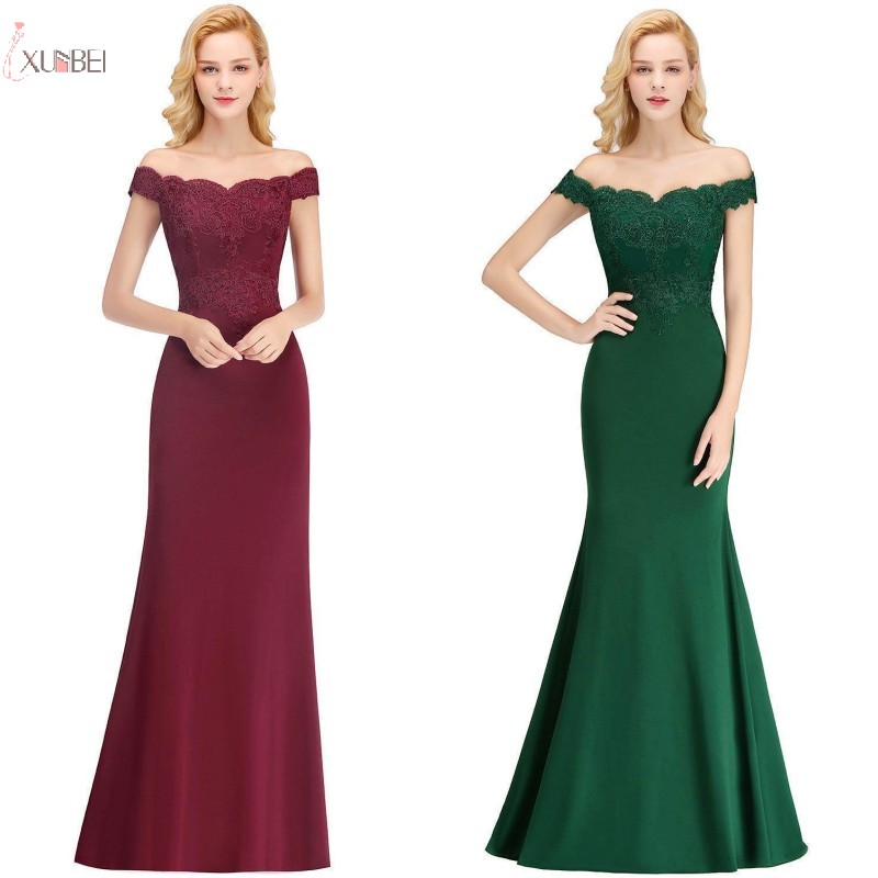 2019 Burgundy Green Mermaid Long   Bridesmaid     Dresses   Off The Shoulder Wedding Formal Party Gown New