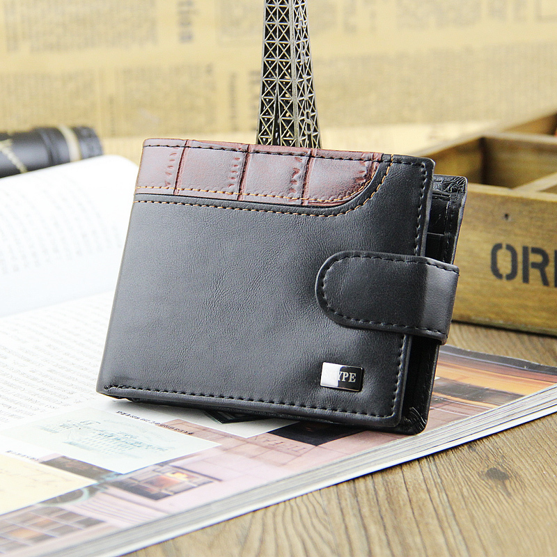 Fashion Men Wallets Hasp Coin Pocket Quality Patent Leather Short Style Wallet Black Coffee Card Holder Purse Free Shipping1203 ash ash 43148 43148
