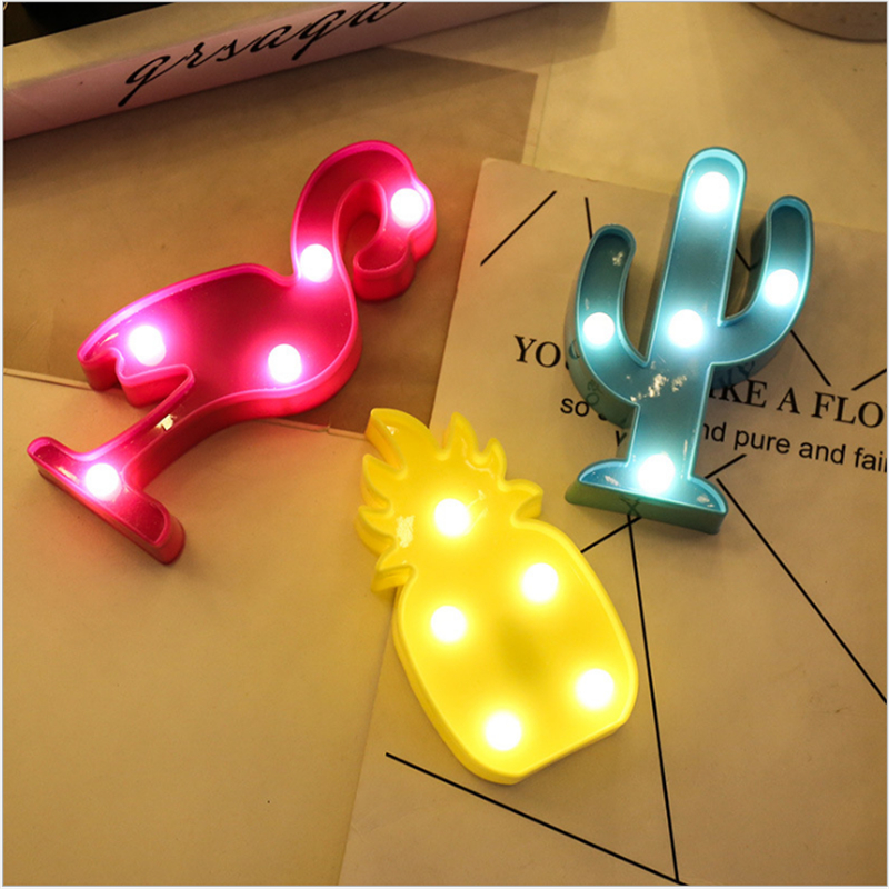 1Pcs LED Mini Night Lights Flamingo Pineapple Cactus 3D Lights Festival Bedroom Party Decor Kids Baby Birthday Christmas Gift (1)