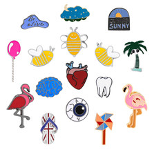 Trendy Creative Enamel Pin Heart Brain Flamingo Bee Windmill Balloon Cartoon Brooch Badge Clothes Backpack Pins Brooches Jewelry(China)