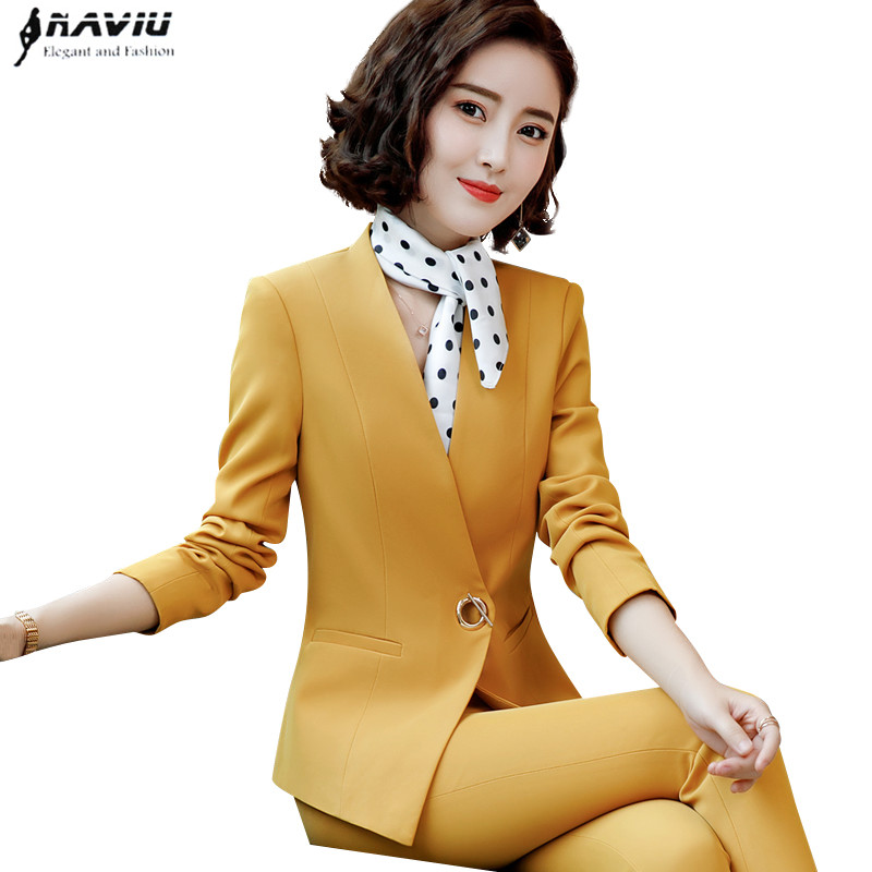 Fashion Career women pants suits autumn new slim long sleeve blazer and trousers office ladies temperament