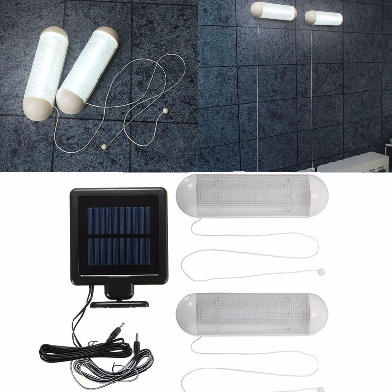 2pcs Waterproof 5V Solar Powered Solar <font><b>Light</b></font> LED Outdoor <font><b>Light</b></font> Bulb Garage Shed Corridor Stable Cord Switch Lamp