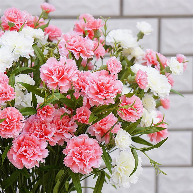 Flone High Quality 6 heads Artificial Silk Carnation Fake Flowers Branch Home Living Room Garden Decoration Floral Festival Gift