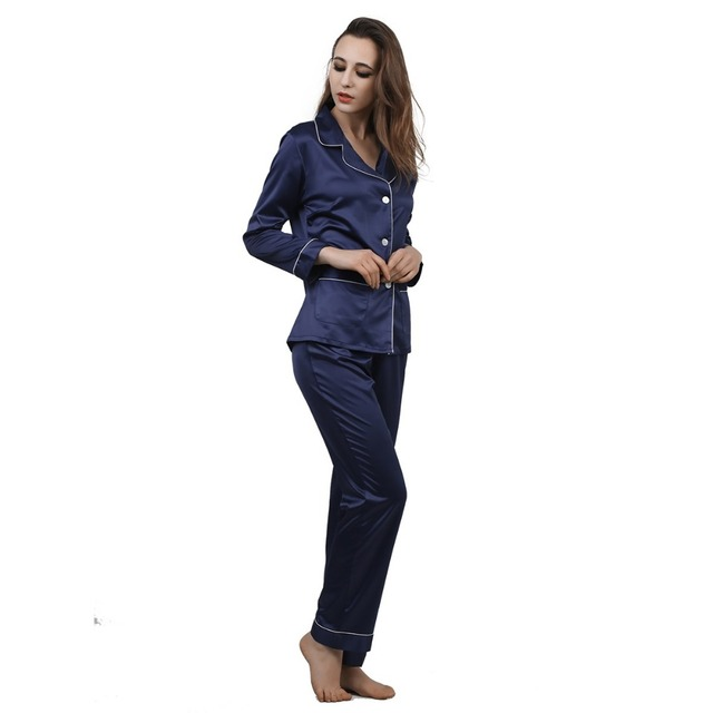 High Grade Satin Women Pajama Sets Notch Collar Long Sleeves Top with Full-Length Pant Pajamas Pyjama Femme Sleepwear for Women