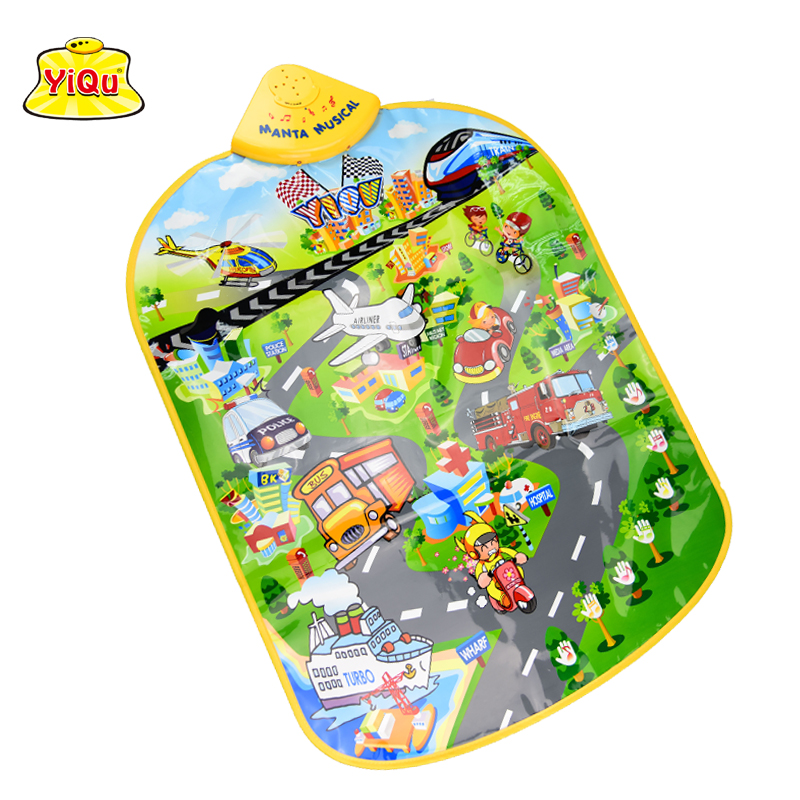 YIQU Spanish Educational Toys Children Learning Mat Baby Play Crawling Mat Baby Travel Gym Musical Carpet YQ2936