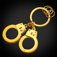 Handcuffs Keychains For Men Key Rings With Rings Circle 18K Real Gold Plated Jewelry Handcuffs Model