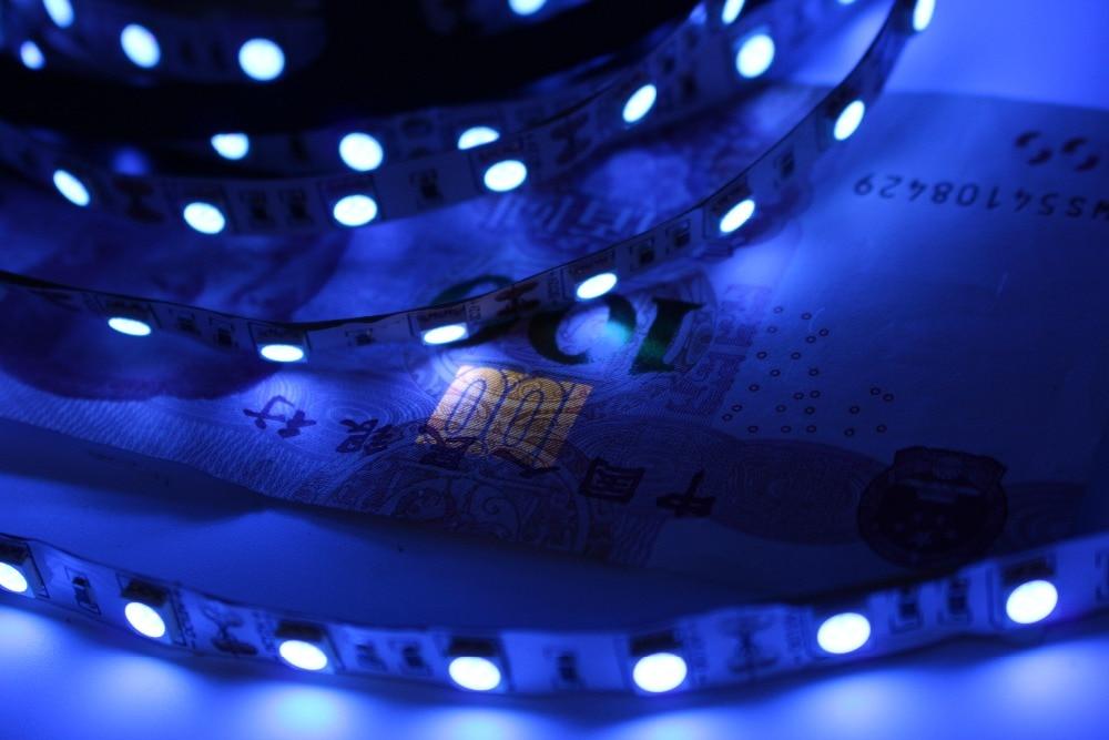 DC12V white PCB UV Led Strip light 5050 SMD 60leds/m 1m 2m 3m 4m 5m Ultraviolet Ray Purple Flexible LED Tape Ribbon lamp car styling for hyundai elantra md led headlight assembly 2013 2016 head lamp led h7 with hid kit 2 pcs