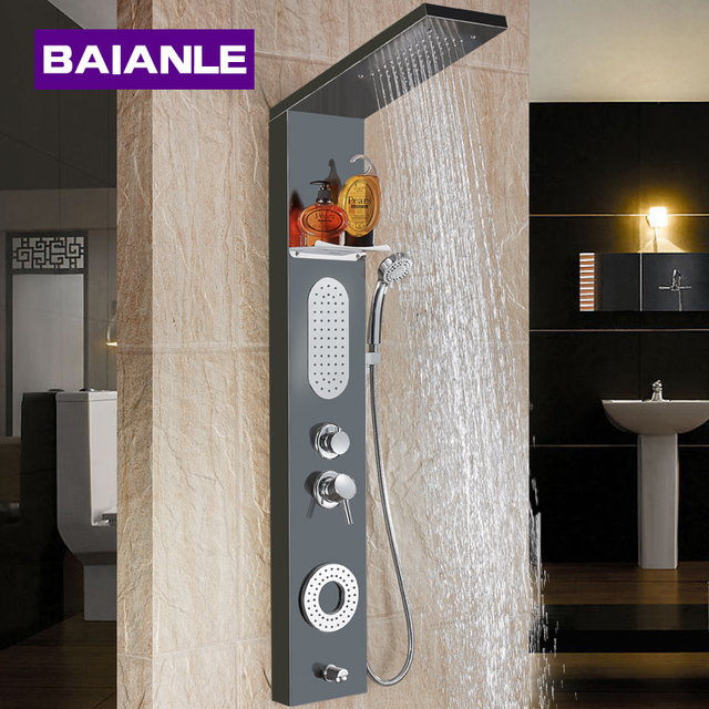 New Waterfall  Fashion Luxury Gold Shower Column  Shower Panel Hand Shower Massage Jets Stainless steel Plate Shower Faucet