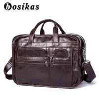 BOSIKAS Genuine Leather Men's Briefcases men's leather bags Laptop bag 14inch bussiness Handbags Shoulder Bags Man Business Bag