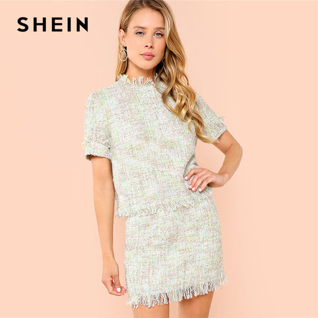 3451f08b1c8 SHEIN Multicolor Highstreet Office Lady Fringe Detail Tweed Stand Collar  Top And Skirt Set Summer Elegant
