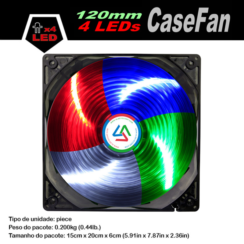ALSEYE Fans fo PC LED 120mm fan 12v 1300RPM Cooler for housing Single Color 4 LEDs Cooling fan personal computer graphics cards fan cooler replacements fit for pc graphics cards cooling fan 12v 0 1a graphic fan
