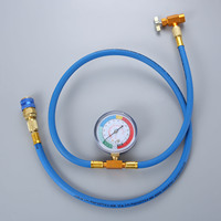 59 R134a AC Refrigerant Charging Hose Pressure Gauge Can Opener Quick Coupler Recharge Measuring Tool 1/2ACME X 1/4SAE