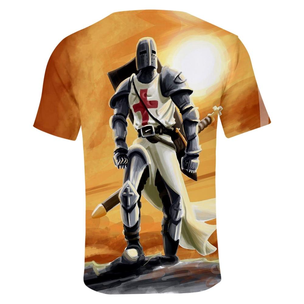 Knights Templar Leisure HIP HOP Kpop New 3D summer short-sleeved T-shirt 2019 new trend casual men Kop cool