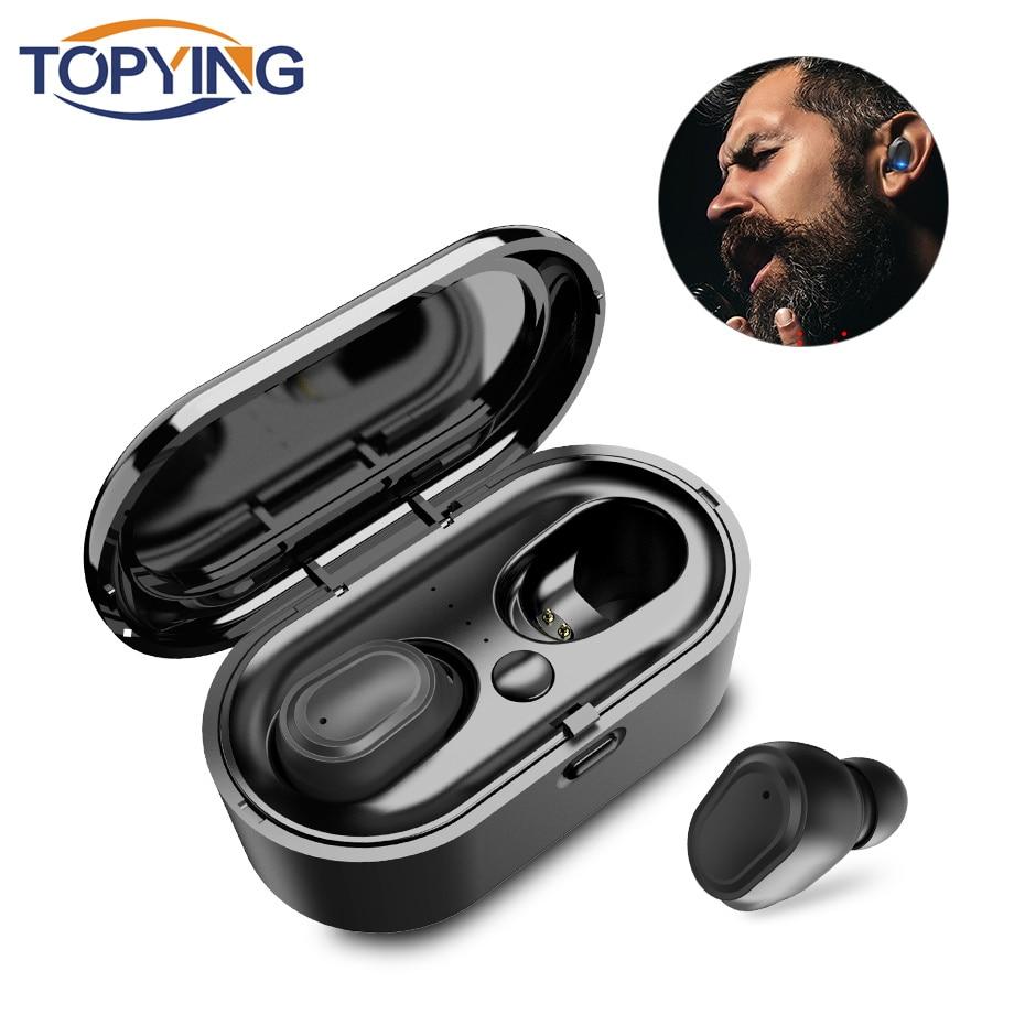 TOPYING TWS 5.0 Bluetooth Earphone 5.0 HIFI Stereo Wireless Headphones IPX6 Waterproof Sport Wireless Headphones Siri Voice 2019