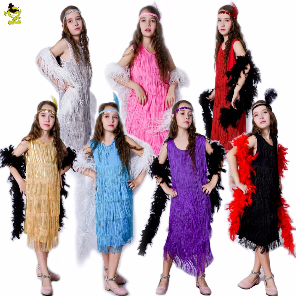 New Girls Sassy Flapper Party Costumes Children Latin Dance Costume Dress Halloween cosplay (Multiple Color, Long feather Boa)