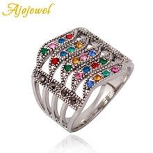 Ajojewel Brand New hot Luxury Multicolor Geometric Rhinestone Rings For Women Female CZ Weddings Jewelry Gift