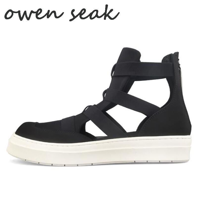 Owen Seak Men Casual Sandals Black Rome Gladiator Sandals High Top Shoes Mules Clogs Zip Summer