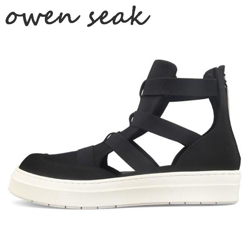 Owen Seak mężczyźni casualowe sandały czarny rzym Sandały gladiatorki buty za kostkę klapki drewniaki Zip letnie męskie sandały trampki w Sandały męskie od Buty na  Grupa 1